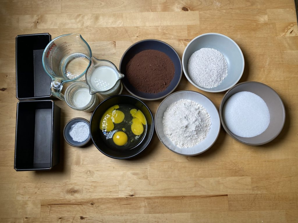 chocolate cake with rye mise en place